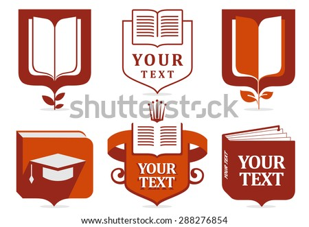 Set of logos of education. Education logo. Learn logo. Learning logo. Book logo. School logo.Education icons. Education icon. Learn logos. Red education logo. Book icons. Education logotype.   - stock vector