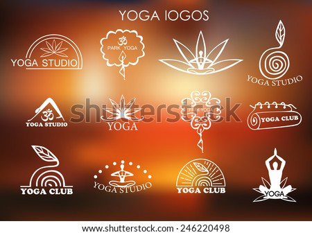 Set of logos of yoga and meditation. Vector. - stock vector