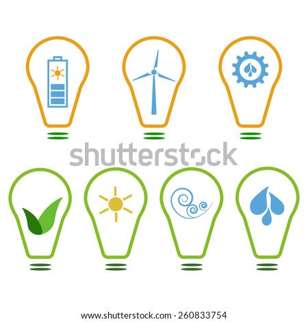 Set of logos presenting eco-friendly energy sources. Sun, wind and water - stock vector