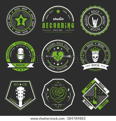 Set of logos rock music and recording studios. Music design elements with font type and illustration vector. Vintage label Rock Beast T-Shirt Print.