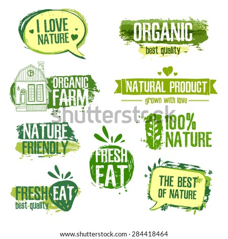 Set of logos, stamps, badges, labels for natural products, farms, organic. Floral elements and grungy texture. Green, pastel colors. Vector.