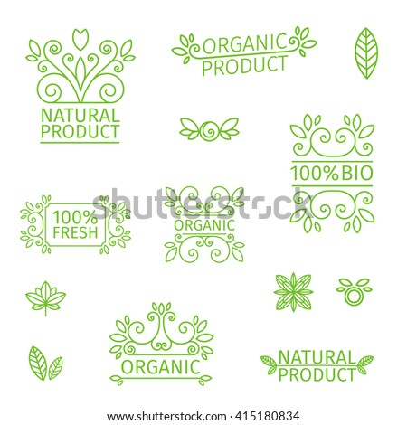 Set of logos, stamps, badges, labels for natural products, farms, organic. Floral elements and swirl. Green, pastel colors. Vector. - stock vector
