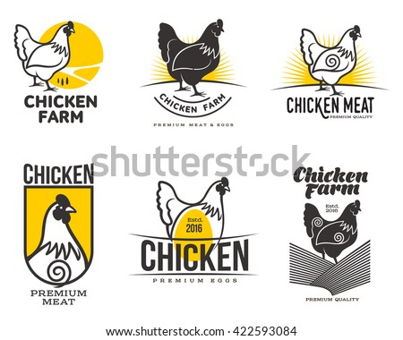 set of logos with chicken, vector illustration, isolated on a white background, with different logos chicken and yellow, simple logos about chicken, meat and eggs, the production of poultry meat - stock vector