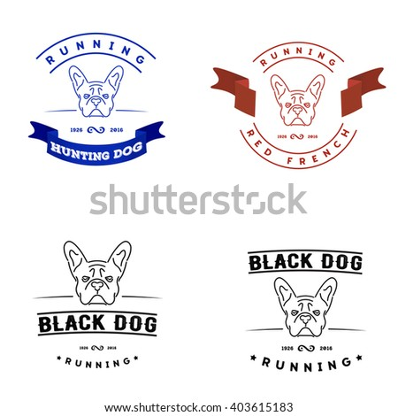 Set of logos with french bulldog and tape. Nanoline style
