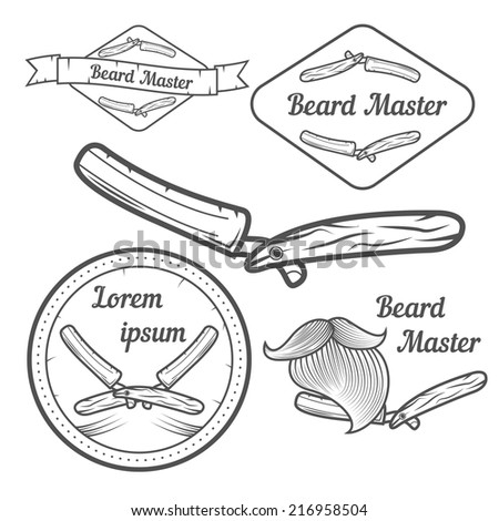 Set of logotypes with razors for barbershop