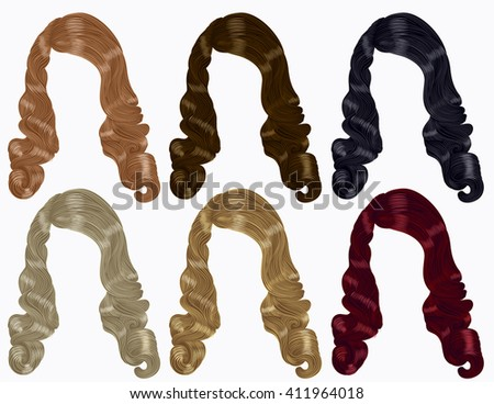 set of long curly hairs  different colors .retro style - stock vector