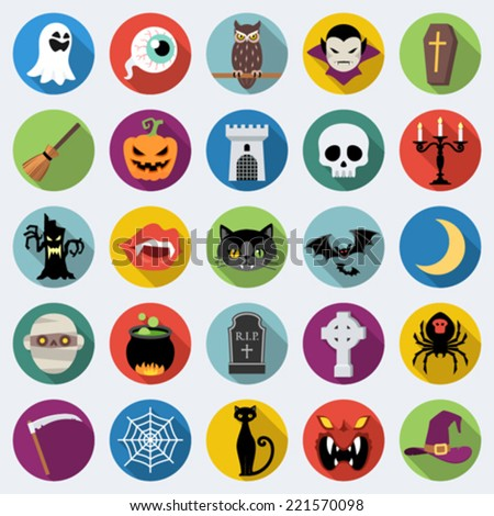 Set of long shadow Halloween icons in flat design with long shadows