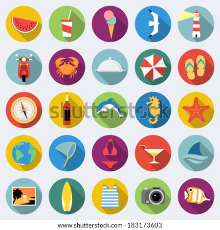 Set of long shadow summer rest icons. Traveling, tourism, vacation theme. Part 2