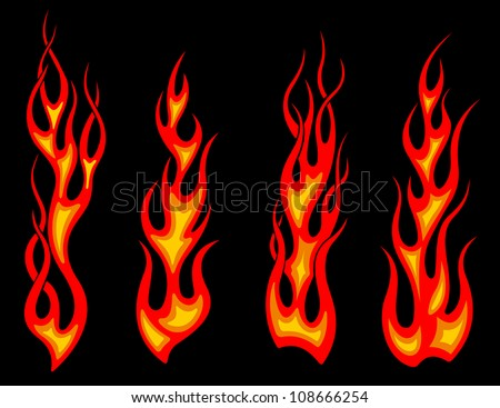 Set of long tribal fire flames for tattoo drawing as a logo. Jpeg version also available in gallery - stock vector