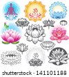 Set of lotuses and esoteric symbols - stock photo