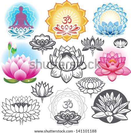 Set of lotuses and esoteric symbols - stock vector