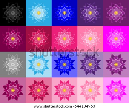 Set of lotuses performed a stroke and fills in various colors and hues. Lotus on a colored background