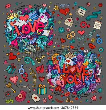 Set of Love and I Love You hand lettering and doodles elements, symbols, objects background - stock vector