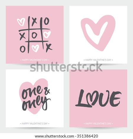 Set of love cards for Valentine's Day or wedding. Hand brush lettering and hand painted hearts. Modern calligraphic design. - stock vector