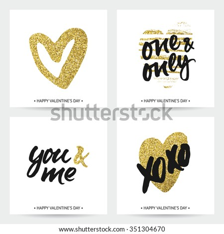 Set of love cards for wedding and Valentine's day. Hand brush lettering with ink and golden sparkling hand painted hearts. Modern calligraphic design. - stock vector