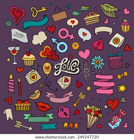 Set of love doodle icons vector illustration - stock vector