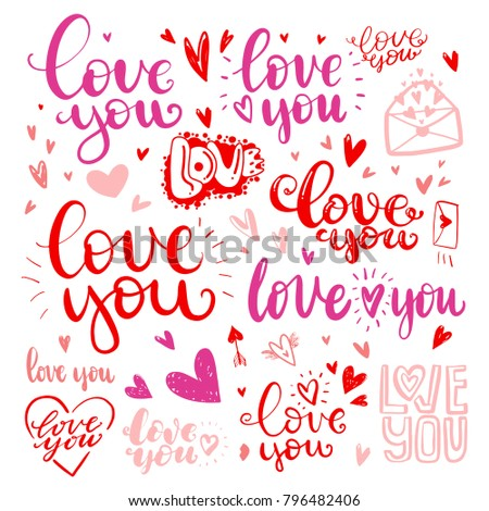 Set Of Love Hand Drawn Quotes In Messages You Different Handwritten Fonts