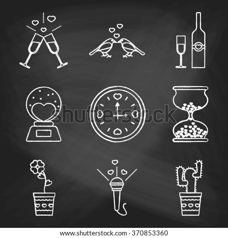 Set of love icons painted with white chalk on a blackboard. Decorative icons for Valentine's day. Hands-drawn style - stock vector