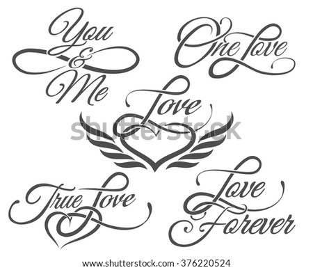 Set of Love Lettering in Tattoo style. Isolated on white. - stock vector