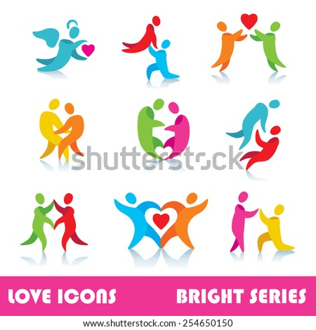 Set of love logo vector icons, bright series - stock vector
