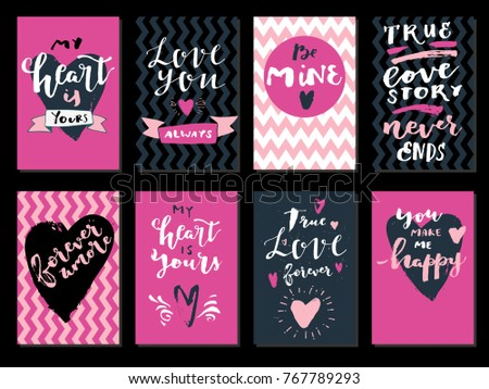 Set love quotes saint valentines day stock vector 767789293 set of love quotes saint valentines day vertical greeting cards modern calligraphy hand m4hsunfo
