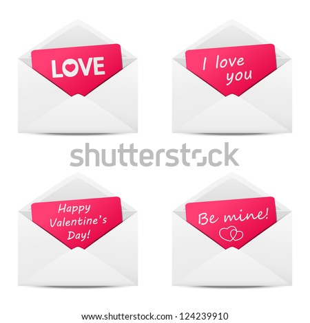 Set of love Valentine message - stock vector