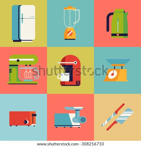 Set of lovely and colorful vector domestic kitchen appliances, tool and equipment square icons in trendy flat design featuring fridge, toaster, kettle, mixer, blender and more - stock vector