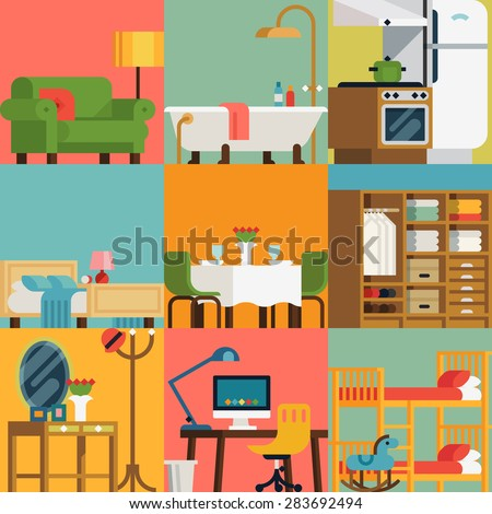 Set of lovely and colorful vector interior design room types icons in trendy flat design featuring living room, bedroom, kitchen, kids' room, bathroom, dining room, work space and hallway - stock vector