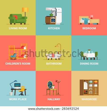 Set Of Lovely And Colorful Vector Interior Design Room Types Icons In Trendy Flat Featuring