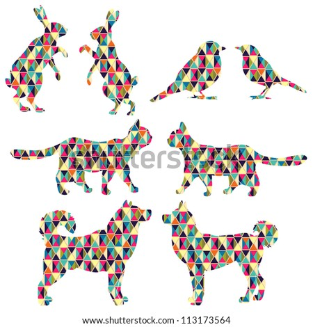 Set of lovely animal lovers couples: hares, birds, cats, dogs. - stock vector