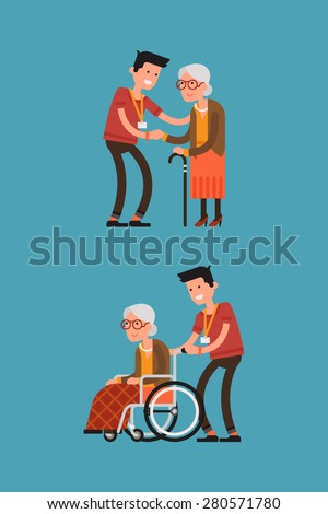 Set of lovely flat character design on young volunteer man caring for elderly woman | Adult man helping and supporting old aged female | Senior woman in wheelchair with careful man - stock vector
