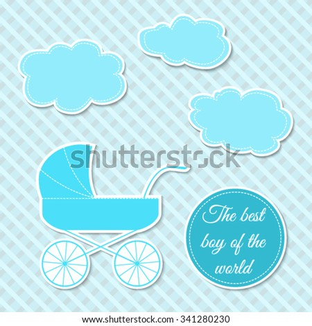 Set of lovely illustrations for baby boy for design, baby shower, cards, textile print or set of stickers - stock vector