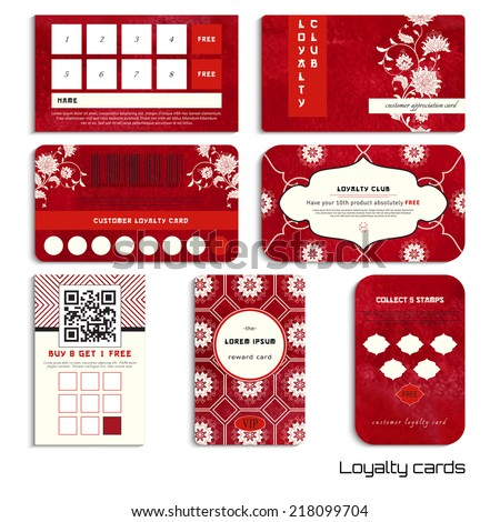Set of loyalty cards. Beautiful flowers and red watercolor background. Hand drawing. Imitation of chinese porcelain painting. Realistic shadows. Place for your text. - stock vector