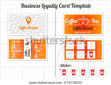 Set Loyalty Cards Template Coffee Shop Stock Vector - Business loyalty card template
