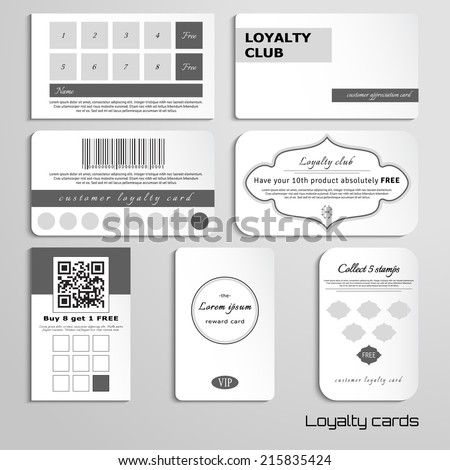 Set of loyalty cards. The basic design in black and white colors. Realistic shadows. Place for your text.  - stock vector