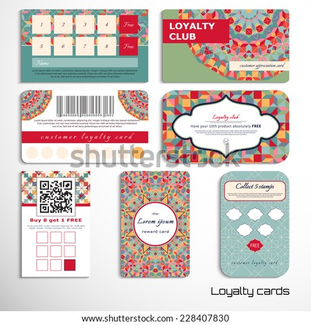 Set of loyalty cards with a geometric pattern. Multicolored figures and grid. Place for your text. - stock vector