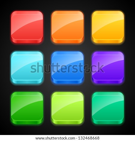 Set of luminous color apps icons. - stock vector