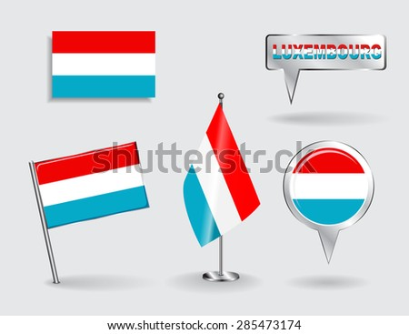 Set of Luxembourg pin, icon and map pointer flags. Vector illustration. - stock vector