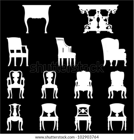 Set of Luxurious armchairs and tables, vector - stock vector