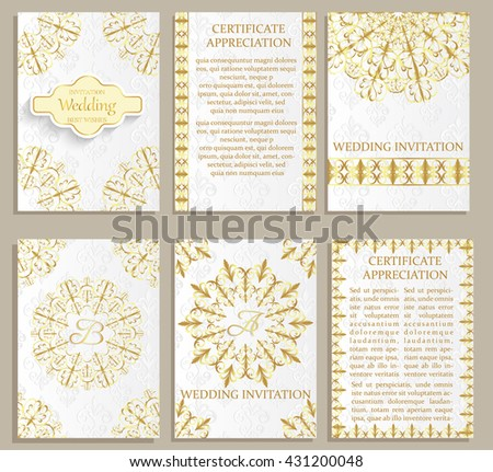 Set of Luxury  artistic brochure . Vector certificate template . Vintage art identity, floral card, magazine. Traditional, Islam, arabic, indian. Retro greeting card or wedding invitation design - stock vector