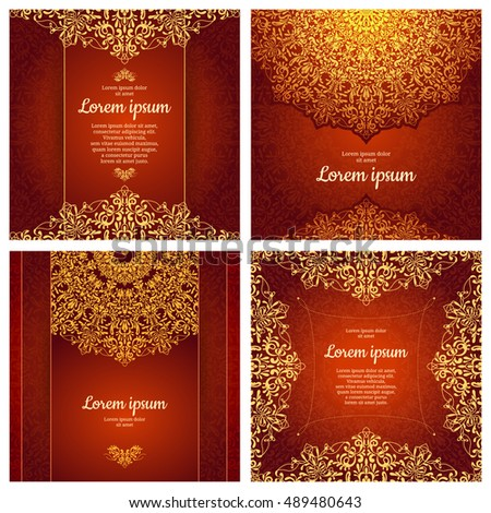 Set Luxury Artistic Pages Set Logo Stock Vector