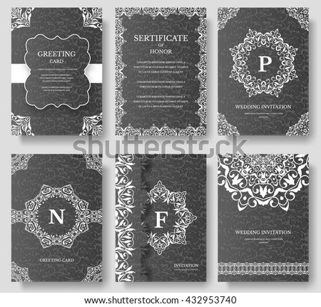 Set of Luxury artistic pages with logo brochure template. Vintage art identity, floral, magazine. Traditional, Islam, arabic, indian. Decorative retro greeting card or invitation design - stock vector