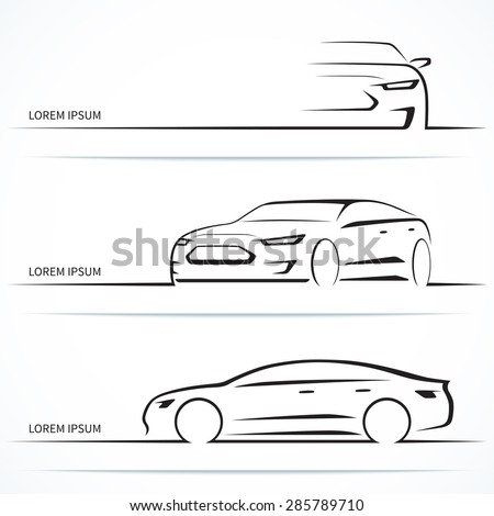 Set of luxury car silhouettes. Modern business sedan in three angles. Vector illustration - stock vector