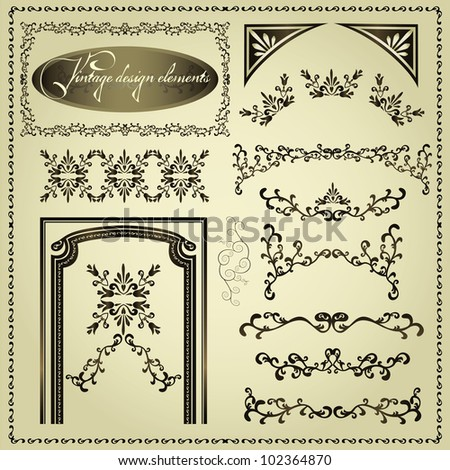 Set of luxury decorative vintage elements and borders, page decoration for design, vector - stock vector