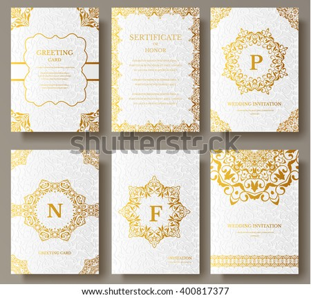 Set of Luxury Gold artistic pages set with logo brochure template. Vintage art identity,  floral card, magazine. Traditional, Islam, arabic, indian. Decorative retro greeting card or invitation design - stock vector