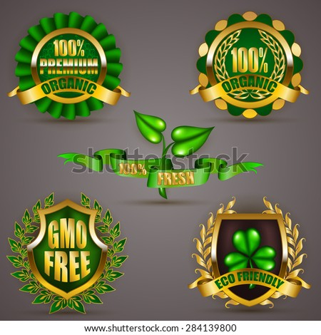 Set of luxury gold badges, shields with floral laurel wreath, ribbon. 100 % premium organic, eco friendly, gmo free. Emblem, icon, logo, label, medal, sticker for web, page design. Illustration EPS 10 - stock vector