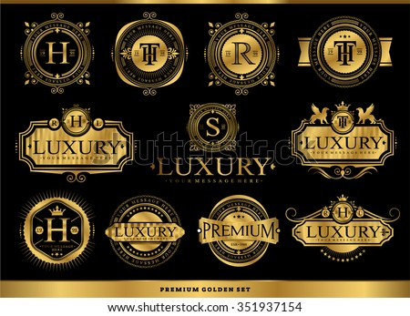 Set of luxury golden badges and stickers. Royal flourishes calligraphic. Luxury ornament lines. - stock vector