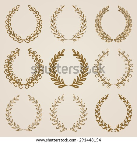 Set of luxury golden labels, emblems, medals, stickers, monograms with laurel wreaths. Page decoration, floral elements. Vector illustration in vintage style. - stock vector