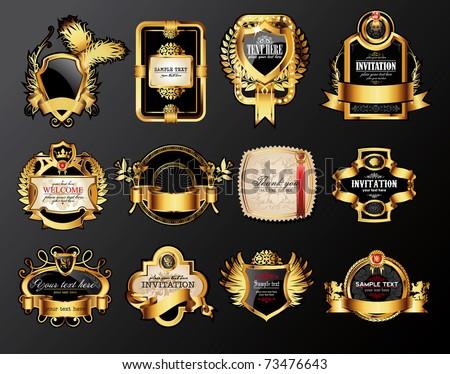 set of luxury labels - stock vector