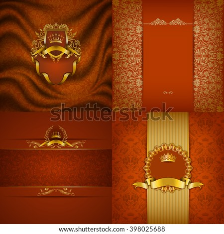 Set of luxury ornate backgrounds in vintage style. Elegant frame with floral elements, filigree ornament, gold crown, shield, ribbon, place for text on orange drapery fabric. Vector illustration EPS10 - stock vector